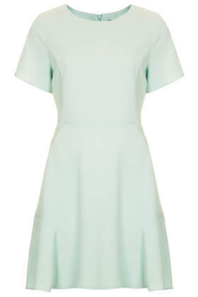 Fit And Flare Crepe Dress - length: mid thigh; neckline: round neck; pattern: plain; predominant colour: mint green; occasions: casual, evening, occasion, holiday, creative work; fit: fitted at waist & bust; style: fit & flare; fibres: polyester/polyamide - 100%; sleeve length: short sleeve; sleeve style: standard; texture group: crepes; pattern type: fabric; trends: sorbet shades; season: s/s 2014