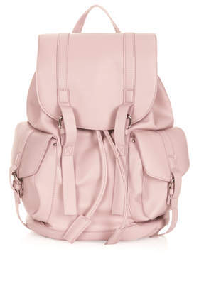 Clean Pocket Backpack - predominant colour: blush; occasions: casual, holiday, creative work; type of pattern: standard; style: rucksack; length: rucksack; size: standard; material: faux leather; pattern: plain; finish: plain; trends: sorbet shades; season: s/s 2014