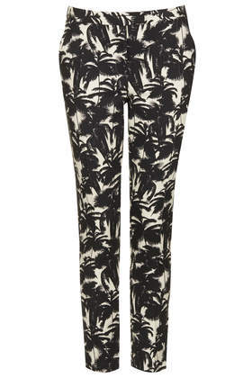 Palm Print Cigarette Trousers - pocket detail: pockets at the sides; waist: mid/regular rise; secondary colour: ivory/cream; predominant colour: black; occasions: evening, creative work; length: ankle length; fibres: cotton - stretch; texture group: cotton feel fabrics; fit: slim leg; pattern type: fabric; pattern: patterned/print; style: standard; season: s/s 2014; pattern size: standard (bottom)