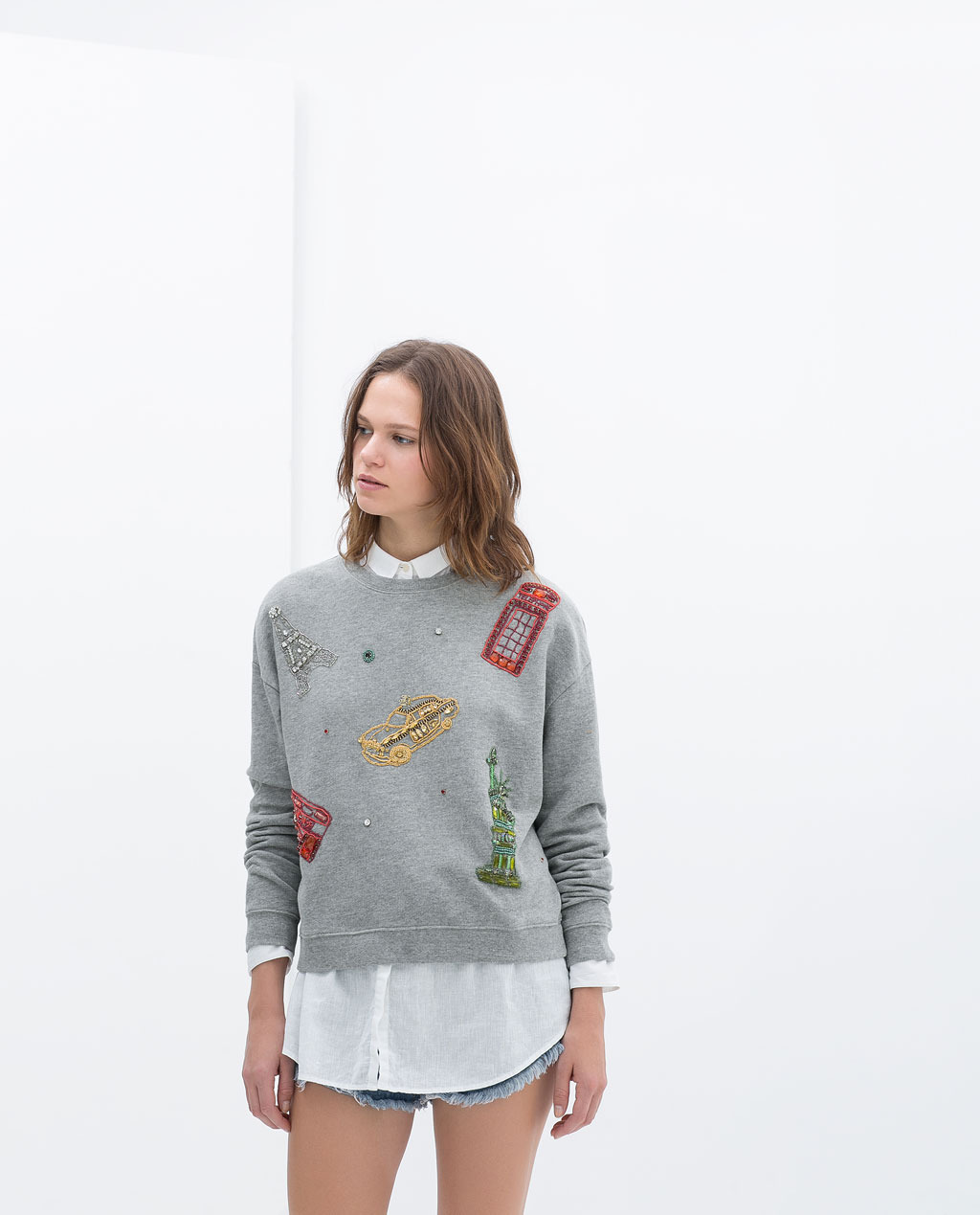 Printed Sweatshirt - pattern: plain; style: sweat top; secondary colour: true red; predominant colour: mid grey; occasions: casual; length: standard; fibres: cotton - 100%; fit: loose; neckline: crew; sleeve length: long sleeve; sleeve style: standard; pattern type: fabric; texture group: jersey - stretchy/drapey; embellishment: beading; season: s/s 2014