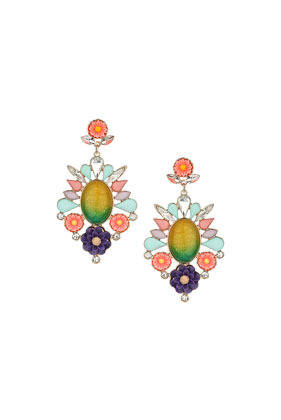 Premium Flower Drop Earrings - occasions: evening, occasion; predominant colour: multicoloured; style: chandelier; length: long; size: large/oversized; material: chain/metal; fastening: pierced; finish: metallic; embellishment: jewels/stone; season: s/s 2014; multicoloured: multicoloured