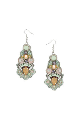 Pastel Beaded Drop Earrings - occasions: evening, occasion; predominant colour: multicoloured; style: chandelier; length: long; size: large/oversized; material: chain/metal; fastening: pierced; finish: metallic; embellishment: jewels/stone; season: s/s 2014; multicoloured: multicoloured