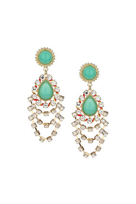 Green Teardrop Stone Earrings - predominant colour: mint green; secondary colour: silver; occasions: evening, occasion; style: chandelier; length: long; size: large/oversized; material: chain/metal; fastening: pierced; finish: metallic; embellishment: jewels/stone; season: s/s 2014
