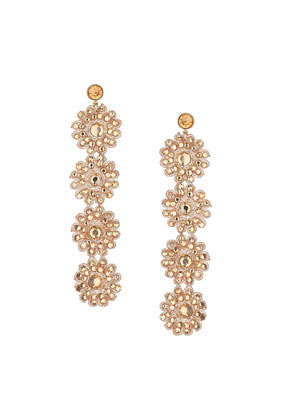 Crochet Flower Drop Earrings - predominant colour: gold; occasions: evening, occasion; style: drop; length: long; size: large/oversized; material: chain/metal; fastening: pierced; finish: metallic; embellishment: jewels/stone; trends: summer sparkle; season: s/s 2014