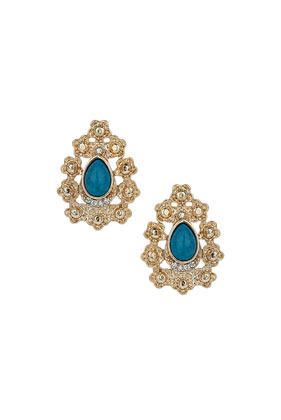 Teardrop Stone Flower Earrings - secondary colour: diva blue; predominant colour: gold; occasions: evening, occasion, holiday; style: stud; length: mid; size: standard; material: chain/metal; fastening: pierced; finish: metallic; embellishment: jewels/stone; trends: summer sparkle; season: s/s 2014