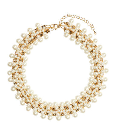 Short Necklace - secondary colour: ivory/cream; predominant colour: gold; occasions: evening, occasion, holiday; length: short; size: large/oversized; material: chain/metal; finish: metallic; embellishment: pearls; style: bib/statement; season: s/s 2014