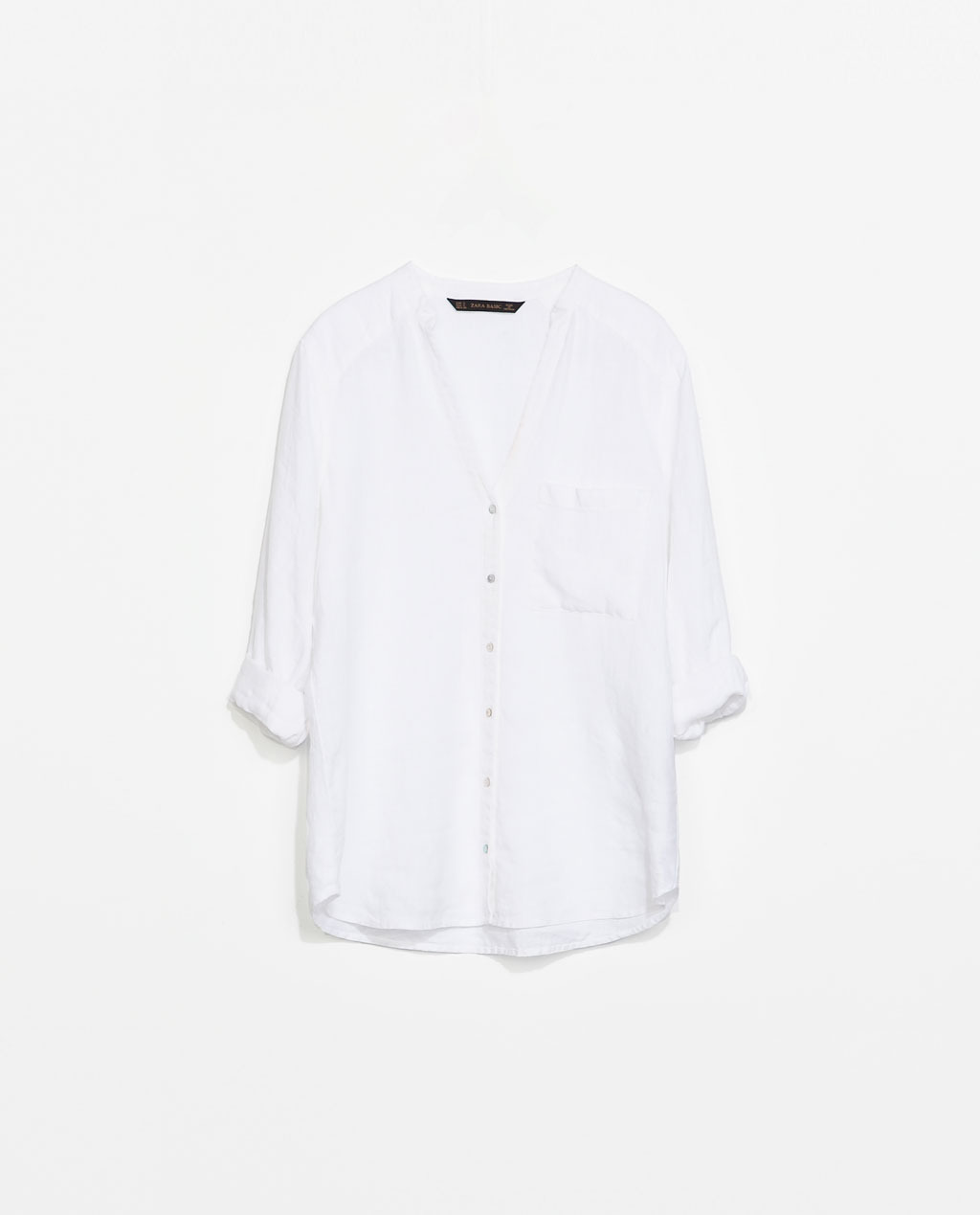Linen Shirt - pattern: plain; length: below the bottom; style: shirt; predominant colour: white; occasions: casual, creative work; neckline: collarstand & mandarin with v-neck; fibres: linen - 100%; fit: loose; sleeve length: 3/4 length; sleeve style: standard; texture group: linen; pattern type: fabric; season: s/s 2014