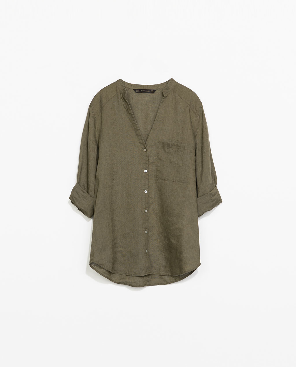 Linen Shirt - pattern: plain; length: below the bottom; style: shirt; predominant colour: khaki; occasions: casual, holiday, creative work; neckline: collarstand & mandarin with v-neck; fibres: linen - 100%; fit: loose; sleeve length: 3/4 length; sleeve style: standard; texture group: linen; pattern type: fabric; season: s/s 2014