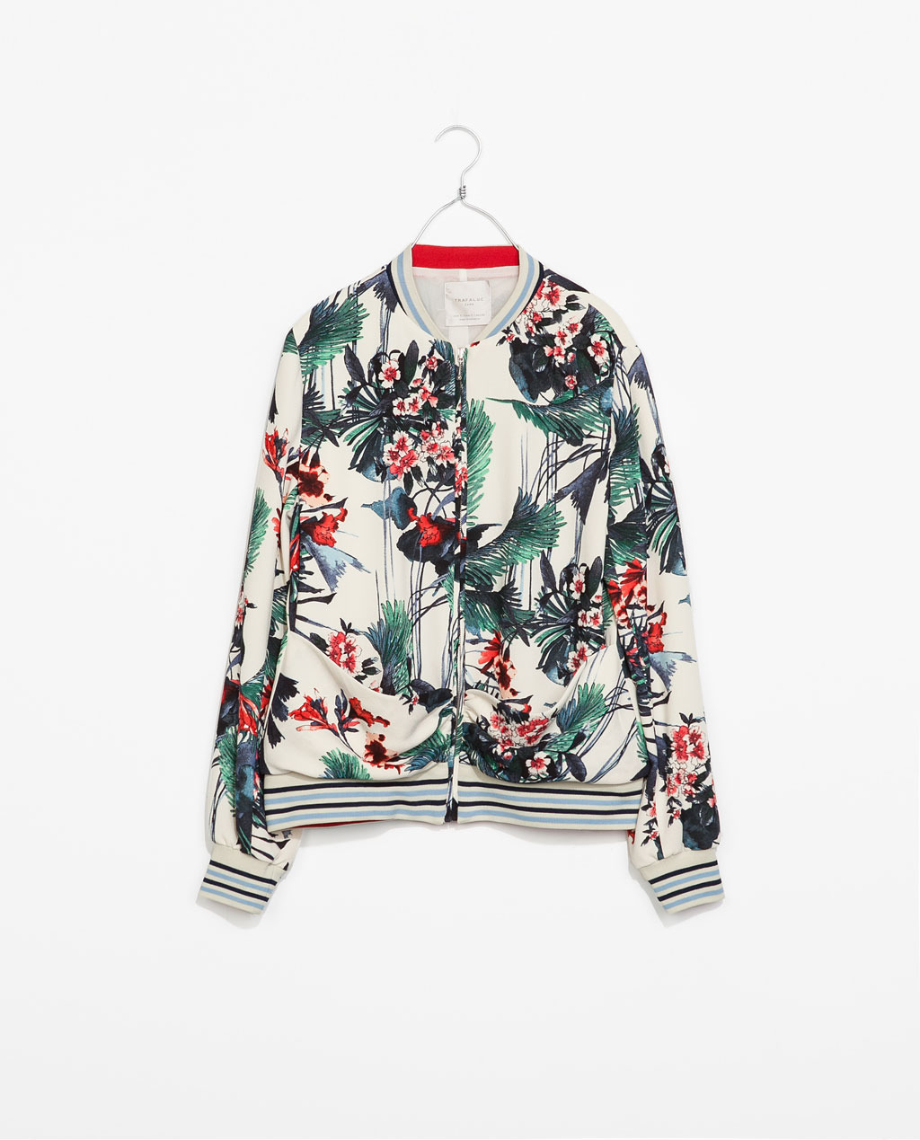 Printed Bomber Jacket - collar: round collar/collarless; style: bomber; occasions: casual, creative work; length: standard; fit: straight cut (boxy); fibres: polyester/polyamide - 100%; predominant colour: multicoloured; sleeve length: long sleeve; sleeve style: standard; texture group: cotton feel fabrics; collar break: high/illusion of break when open; pattern type: fabric; pattern size: standard; pattern: florals; season: s/s 2014; multicoloured: multicoloured