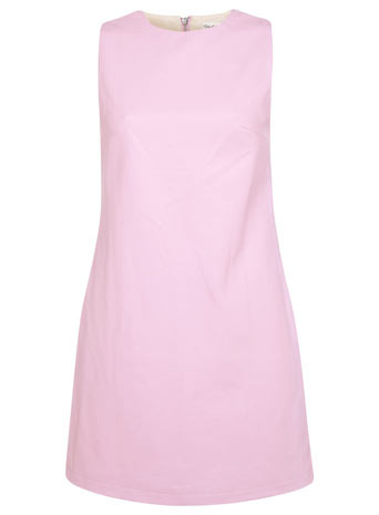 Colourblock Shift Dress - style: shift; length: mini; pattern: plain; sleeve style: sleeveless; predominant colour: blush; occasions: evening, creative work; fit: soft a-line; neckline: crew; sleeve length: sleeveless; texture group: leather; pattern type: fabric; fibres: pvc/polyurethene - 100%; trends: sorbet shades; season: s/s 2014