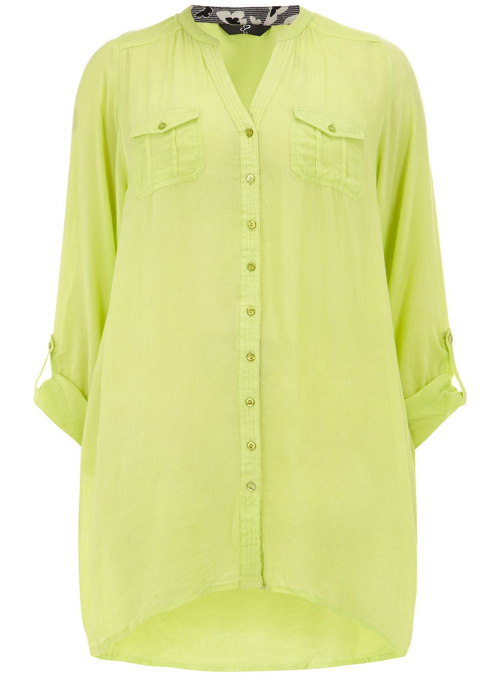 Lime Crinkle Shirt - pattern: plain; length: below the bottom; bust detail: pocket detail at bust; style: blouse; predominant colour: lime; occasions: casual, holiday, creative work; neckline: collarstand & mandarin with v-neck; fibres: viscose/rayon - 100%; fit: loose; back detail: longer hem at back than at front; sleeve length: 3/4 length; sleeve style: standard; texture group: cotton feel fabrics; pattern type: fabric; trends: hot brights; season: s/s 2014
