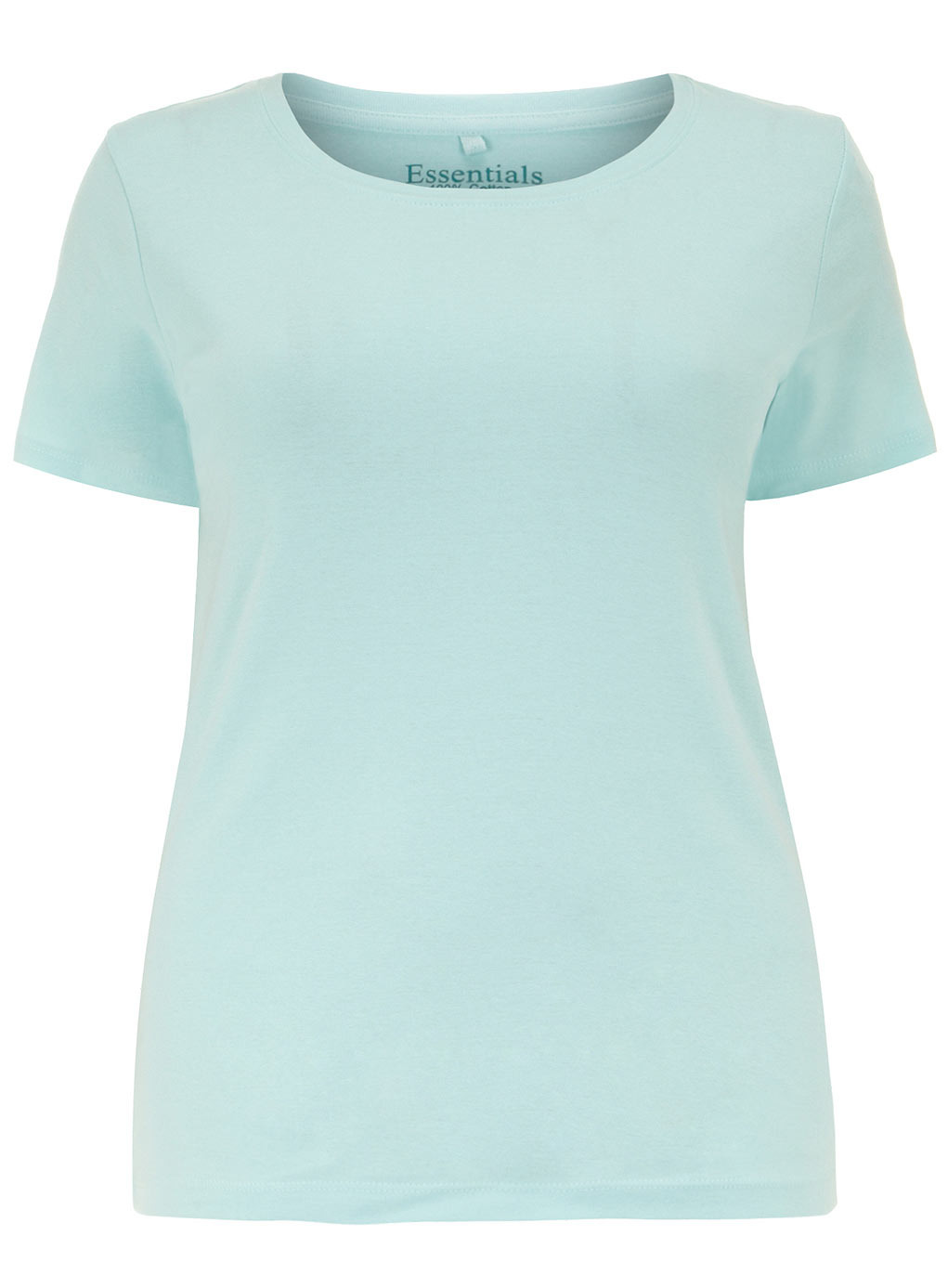 Blue Short Sleeve T Shirt - neckline: round neck; pattern: plain; style: t-shirt; predominant colour: pistachio; occasions: casual, creative work; length: standard; fibres: cotton - 100%; fit: body skimming; sleeve length: short sleeve; sleeve style: standard; pattern type: fabric; texture group: jersey - stretchy/drapey; trends: sorbet shades; season: s/s 2014