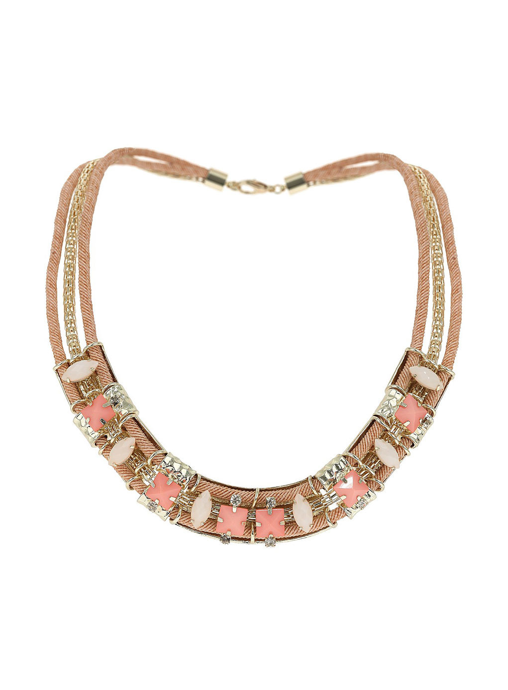 Pink Stone Statement Necklace - predominant colour: camel; secondary colour: nude; occasions: casual, evening, occasion, holiday, creative work; length: short; size: large/oversized; finish: plain; material: macrame/raffia/straw; embellishment: jewels/stone; style: bib/statement; season: s/s 2014