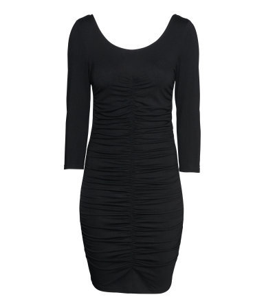 Draped Dress - length: mid thigh; fit: tight; pattern: plain; style: bodycon; bust detail: ruching/gathering/draping/layers/pintuck pleats at bust; predominant colour: black; occasions: evening, occasion; neckline: scoop; fibres: viscose/rayon - stretch; sleeve length: 3/4 length; sleeve style: standard; texture group: jersey - clingy; pattern type: fabric; season: s/s 2014