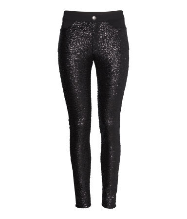 Treggings With Sequins - length: standard; pattern: plain; style: leggings; pocket detail: pockets at the sides, traditional 5 pocket; waist: mid/regular rise; predominant colour: black; occasions: casual, evening; fibres: polyester/polyamide - 100%; fit: skinny/tight leg; pattern type: fabric; texture group: other - light to midweight; embellishment: sequins; season: s/s 2014; wardrobe: highlight; embellishment location: all over
