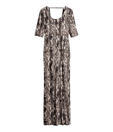 Maxi Dress - style: maxi dress; length: ankle length; back detail: back revealing; predominant colour: stone; secondary colour: black; occasions: evening, occasion; fit: body skimming; neckline: scoop; fibres: polyester/polyamide - 100%; sleeve length: half sleeve; sleeve style: standard; pattern type: fabric; pattern size: big & busy; pattern: animal print; texture group: jersey - stretchy/drapey; season: s/s 2014
