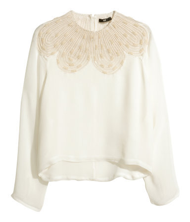 Blouse With Beaded Embroidery - pattern: plain; style: blouse; predominant colour: ivory/cream; occasions: evening, occasion, creative work; length: standard; fibres: viscose/rayon - 100%; fit: straight cut; neckline: crew; shoulder detail: added shoulder detail; sleeve length: 3/4 length; sleeve style: standard; texture group: sheer fabrics/chiffon/organza etc.; pattern type: fabric; embellishment: beading; trends: summer sparkle; season: s/s 2014