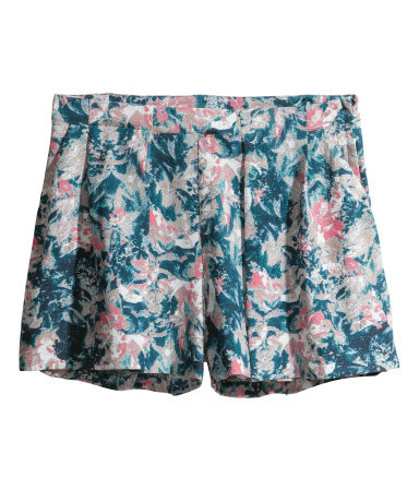 Woven Shorts - pocket detail: pockets at the sides; waist: mid/regular rise; secondary colour: blush; predominant colour: teal; occasions: casual, holiday; fibres: polyester/polyamide - stretch; pattern type: fabric; pattern: florals; texture group: woven light midweight; season: s/s 2014; pattern size: big & busy (bottom); style: shorts; length: short shorts; fit: baggy