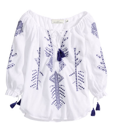 Embroidered Tunic - neckline: low v-neck; style: tunic; predominant colour: white; secondary colour: navy; occasions: casual, holiday, creative work; length: standard; fibres: cotton - 100%; fit: loose; sleeve length: 3/4 length; sleeve style: standard; texture group: cotton feel fabrics; pattern type: fabric; pattern size: light/subtle; pattern: patterned/print; embellishment: embroidered; season: s/s 2014
