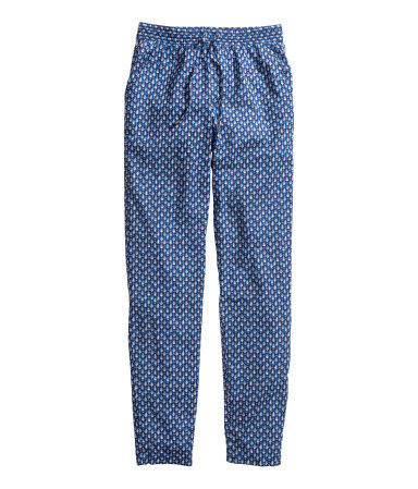 Patterned Trousers - length: standard; pocket detail: pockets at the sides; waist detail: belted waist/tie at waist/drawstring; waist: mid/regular rise; secondary colour: white; predominant colour: denim; occasions: casual; fibres: cotton - 100%; texture group: cotton feel fabrics; fit: slim leg; pattern type: fabric; pattern: patterned/print; style: standard; season: s/s 2014