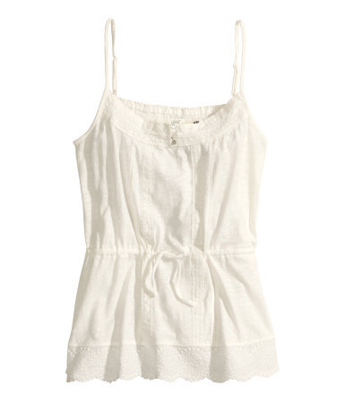 Lace Top - sleeve style: spaghetti straps; pattern: plain; waist detail: belted waist/tie at waist/drawstring; predominant colour: ivory/cream; occasions: casual, holiday; length: standard; style: top; neckline: scoop; fibres: cotton - 100%; fit: loose; sleeve length: sleeveless; pattern type: fabric; texture group: jersey - stretchy/drapey; embellishment: lace; season: s/s 2014