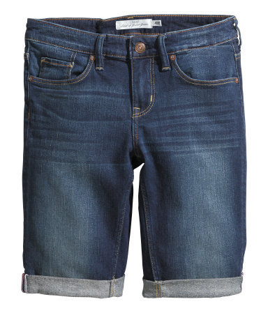 Denim Shorts - pattern: plain; pocket detail: traditional 5 pocket; waist: mid/regular rise; predominant colour: navy; occasions: casual, holiday; fibres: cotton - stretch; texture group: denim; pattern type: fabric; season: s/s 2014; style: denim; length: mid thigh shorts; fit: slim leg
