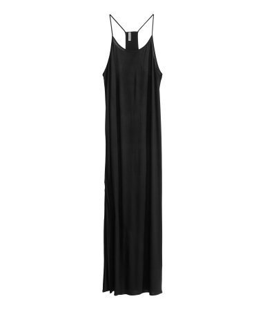 Maxi Dress - sleeve style: spaghetti straps; fit: loose; pattern: plain; style: maxi dress; length: ankle length; back detail: racer back/sports back; predominant colour: black; occasions: casual, holiday; neckline: scoop; fibres: viscose/rayon - stretch; sleeve length: sleeveless; pattern type: fabric; texture group: jersey - stretchy/drapey; season: s/s 2014