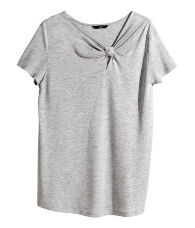 Top With A Knot Detail - pattern: plain; neckline: asymmetric; bust detail: knot twist front detail at bust; predominant colour: light grey; occasions: casual, creative work; length: standard; style: top; fibres: viscose/rayon - 100%; fit: loose; sleeve length: short sleeve; sleeve style: standard; pattern type: fabric; texture group: jersey - stretchy/drapey; season: s/s 2014