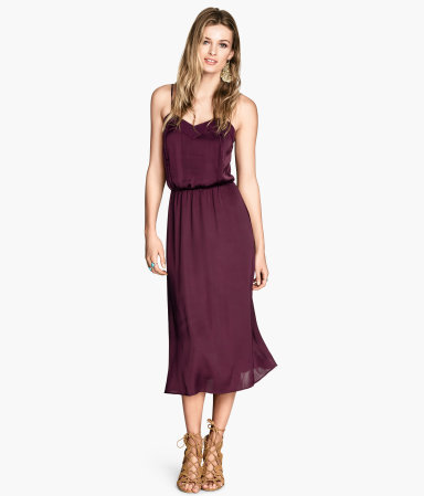 Satin Dress - style: shift; length: calf length; neckline: low v-neck; sleeve style: spaghetti straps; fit: fitted at waist; pattern: plain; predominant colour: aubergine; occasions: evening, occasion; fibres: polyester/polyamide - 100%; hip detail: subtle/flattering hip detail; sleeve length: sleeveless; texture group: sheer fabrics/chiffon/organza etc.; pattern type: fabric; season: s/s 2014