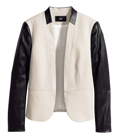 Figure Fit Jacket - style: single breasted blazer; collar: round collar/collarless; predominant colour: ivory/cream; secondary colour: black; occasions: casual, evening, creative work; length: standard; fit: tailored/fitted; fibres: cotton - 100%; sleeve length: long sleeve; sleeve style: standard; texture group: cotton feel fabrics; collar break: low/open; pattern type: fabric; pattern size: standard; pattern: colourblock; season: s/s 2014