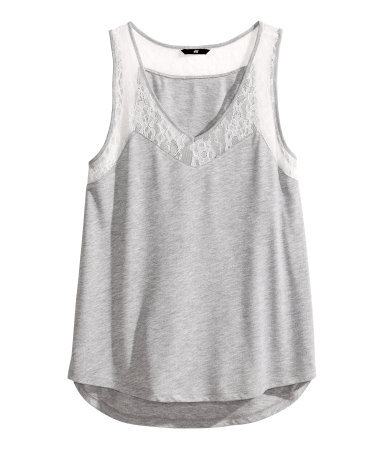 Lace Top - neckline: low v-neck; pattern: plain; sleeve style: sleeveless; style: vest top; predominant colour: light grey; occasions: casual, holiday; length: standard; fibres: viscose/rayon - 100%; fit: loose; bust detail: contrast pattern/fabric/detail at bust; sleeve length: sleeveless; texture group: jersey - stretchy/drapey; embellishment: lace; season: s/s 2014