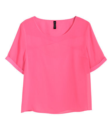 Chiffon Blouse - neckline: round neck; pattern: plain; style: t-shirt; predominant colour: hot pink; occasions: casual, evening, holiday; length: standard; fibres: polyester/polyamide - 100%; fit: straight cut; sleeve length: short sleeve; sleeve style: standard; texture group: sheer fabrics/chiffon/organza etc.; pattern type: fabric; trends: hot brights, sheer; season: s/s 2014