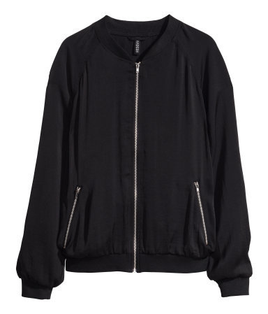 Bomber Jacket - pattern: plain; collar: round collar/collarless; style: bomber; secondary colour: silver; predominant colour: black; occasions: casual, evening, creative work; length: standard; fit: straight cut (boxy); fibres: polyester/polyamide - 100%; sleeve length: long sleeve; sleeve style: standard; texture group: structured shiny - satin/tafetta/silk etc.; collar break: high; pattern type: fabric; season: s/s 2014