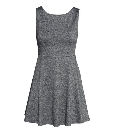Jersey Dress - length: mid thigh; neckline: round neck; pattern: plain; sleeve style: sleeveless; predominant colour: mid grey; occasions: casual, evening, creative work; fit: fitted at waist & bust; style: fit & flare; fibres: polyester/polyamide - stretch; hip detail: soft pleats at hip/draping at hip/flared at hip; sleeve length: sleeveless; pattern type: fabric; texture group: jersey - stretchy/drapey; season: s/s 2014