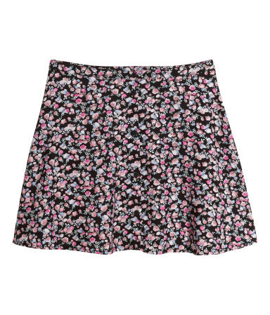 Short Skirt - length: mini; fit: body skimming; waist: mid/regular rise; predominant colour: black; occasions: casual, holiday; style: mini skirt; fibres: viscose/rayon - 100%; pattern type: fabric; pattern: florals; texture group: other - light to midweight; secondary colour: dusky pink; season: s/s 2014; pattern size: standard (bottom)