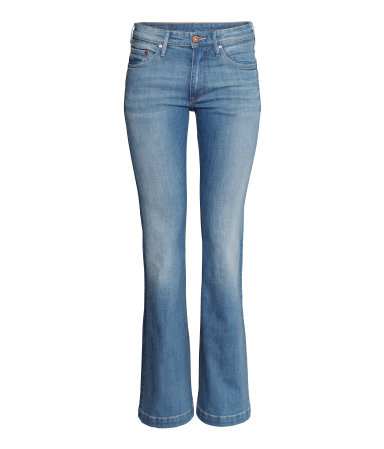 Boot Cut Low Jeans - style: bootcut; length: standard; pattern: plain; waist: low rise; pocket detail: traditional 5 pocket; predominant colour: denim; occasions: casual, creative work; fibres: cotton - stretch; jeans detail: whiskering, shading down centre of thigh, washed/faded; texture group: denim; pattern type: fabric; season: s/s 2014