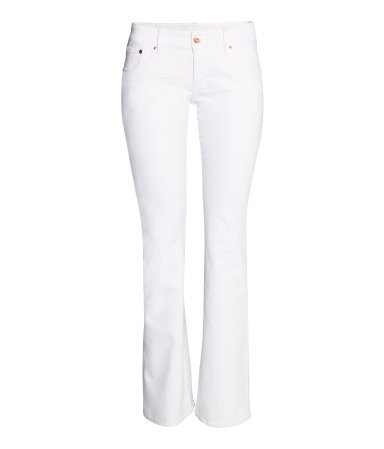 Boot Cut Low Jeans - style: bootcut; length: standard; pattern: plain; waist: low rise; pocket detail: traditional 5 pocket; predominant colour: white; occasions: casual, holiday, creative work; fibres: cotton - stretch; texture group: denim; pattern type: fabric; season: s/s 2014
