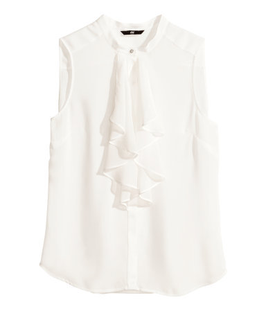 Frilled Blouse - pattern: plain; sleeve style: sleeveless; style: blouse; predominant colour: ivory/cream; occasions: casual, evening, creative work; length: standard; neckline: collarstand; fibres: polyester/polyamide - 100%; fit: body skimming; sleeve length: sleeveless; texture group: sheer fabrics/chiffon/organza etc.; bust detail: tiers/frills/bulky drapes/pleats; pattern type: fabric; season: s/s 2014