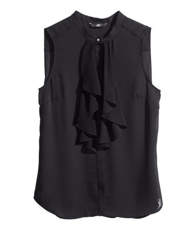 Frilled Blouse - pattern: plain; sleeve style: sleeveless; style: blouse; predominant colour: black; occasions: casual, evening, creative work; length: standard; neckline: collarstand; fibres: polyester/polyamide - 100%; fit: loose; sleeve length: sleeveless; texture group: sheer fabrics/chiffon/organza etc.; bust detail: tiers/frills/bulky drapes/pleats; pattern type: fabric; season: s/s 2014