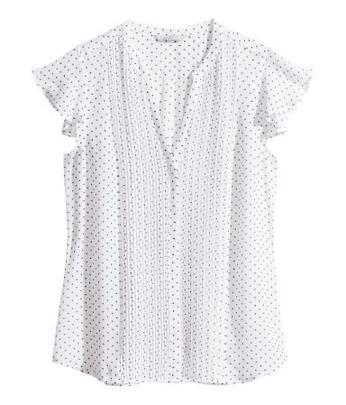 Blouse With Butterfly Sleeves - sleeve style: capped; style: shirt; shoulder detail: tiers/frills/ruffles; pattern: polka dot; predominant colour: white; secondary colour: black; occasions: casual, work, creative work; length: standard; neckline: collarstand & mandarin with v-neck; fibres: polyester/polyamide - 100%; fit: body skimming; sleeve length: short sleeve; texture group: sheer fabrics/chiffon/organza etc.; pattern type: fabric; pattern size: standard; season: s/s 2014