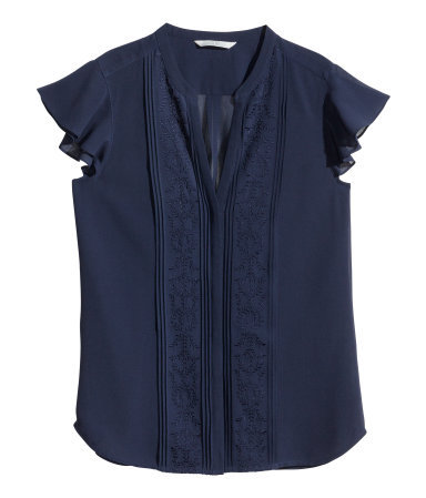 Blouse With Butterfly Sleeves - sleeve style: capped; pattern: plain; bust detail: added detail/embellishment at bust; style: shirt; shoulder detail: tiers/frills/ruffles; predominant colour: navy; occasions: casual, work, creative work; length: standard; neckline: collarstand & mandarin with v-neck; fibres: polyester/polyamide - 100%; fit: body skimming; sleeve length: short sleeve; texture group: sheer fabrics/chiffon/organza etc.; pattern type: fabric; embellishment: embroidered; season: s/s 2014