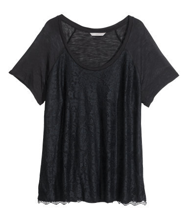 + Lace Top - pattern: plain; style: t-shirt; predominant colour: black; occasions: casual, evening; length: standard; neckline: scoop; fibres: viscose/rayon - 100%; fit: body skimming; sleeve length: short sleeve; sleeve style: standard; pattern type: fabric; texture group: jersey - stretchy/drapey; trends: lace; season: s/s 2014
