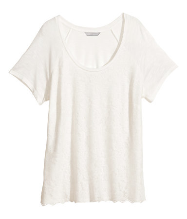 + Lace Top - pattern: plain; style: t-shirt; predominant colour: ivory/cream; occasions: casual, creative work; length: standard; neckline: scoop; fibres: viscose/rayon - 100%; fit: body skimming; sleeve length: short sleeve; sleeve style: standard; pattern type: fabric; texture group: jersey - stretchy/drapey; embellishment: lace; trends: lace; season: s/s 2014