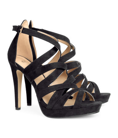 Strappy Sandals - predominant colour: black; occasions: evening, occasion; ankle detail: ankle strap; heel: stiletto; toe: open toe/peeptoe; style: strappy; finish: plain; pattern: plain; heel height: very high; material: faux suede; shoe detail: platform; season: s/s 2014