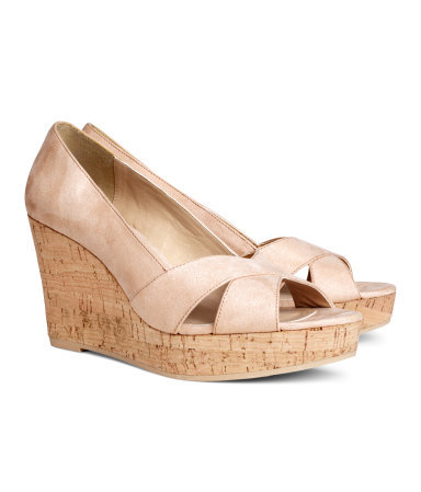Wedge Heel Shoes - predominant colour: nude; occasions: casual, holiday, creative work; material: fabric; heel height: high; heel: wedge; toe: open toe/peeptoe; style: courts; finish: plain; pattern: plain; shoe detail: platform; season: s/s 2014
