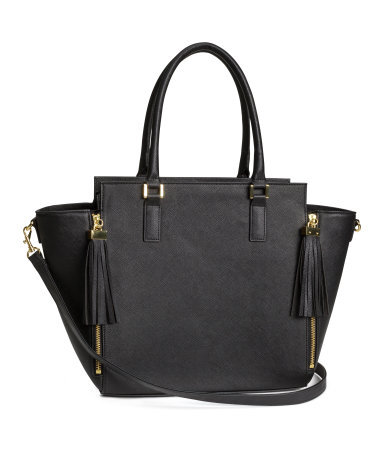 Handbag - secondary colour: gold; predominant colour: black; occasions: casual, work, creative work; type of pattern: standard; style: tote; length: handle; size: standard; material: faux leather; embellishment: tassels; pattern: plain; finish: plain; season: s/s 2014