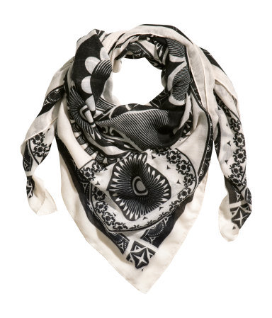 Patterned Scarf - secondary colour: ivory/cream; predominant colour: black; occasions: casual, work, creative work; type of pattern: light; style: square; size: standard; material: fabric; pattern: patterned/print; season: s/s 2014