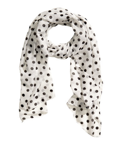 Patterned Scarf - predominant colour: ivory/cream; secondary colour: black; occasions: casual, work, creative work; type of pattern: light; style: regular; size: standard; material: fabric; pattern: polka dot; season: s/s 2014; trends: monochrome