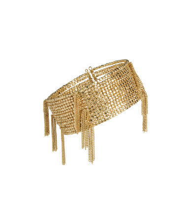 Beaded Bracelet - predominant colour: gold; occasions: evening, occasion, holiday; style: cuff; size: large/oversized; material: chain/metal; finish: metallic; embellishment: chain/metal; season: s/s 2014