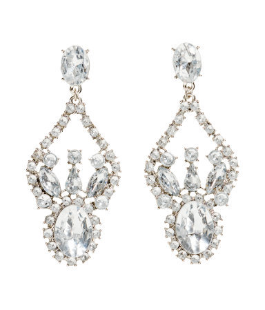 Sparkly Stone Earrings - secondary colour: silver; occasions: evening, occasion; style: chandelier; length: mid; size: standard; material: plastic/rubber; fastening: pierced; finish: metallic; embellishment: crystals/glass; predominant colour: clear; season: s/s 2014